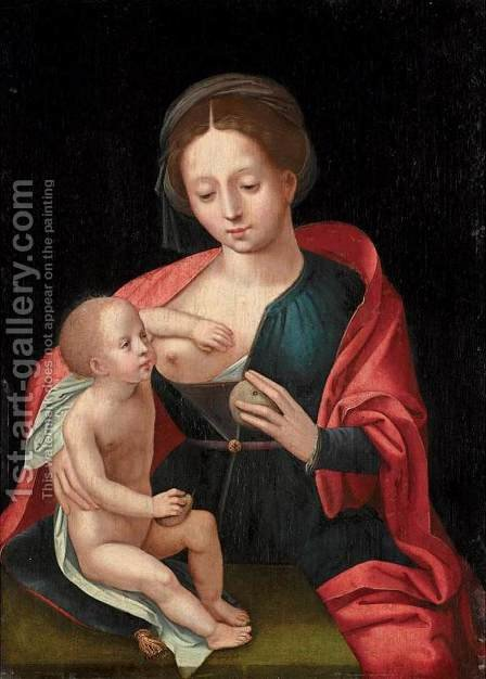Virgin and Child 2 by Master of Female Half-Figures - Reproduction Oil Painting