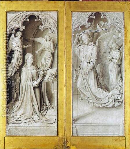 The Moulins Triptych (closed) by Master of Moulins  (Jean Hey) - Reproduction Oil Painting