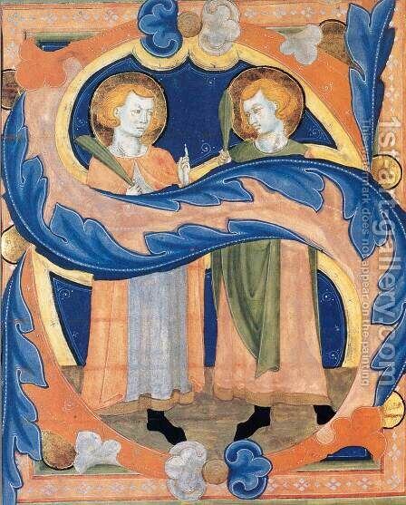 Two Martyr Saints in an Initial S by Italian Miniaturist - Reproduction Oil Painting