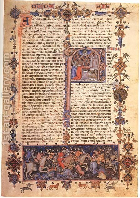 Bible of Matteo di Planisio by Italian Miniaturist - Reproduction Oil Painting