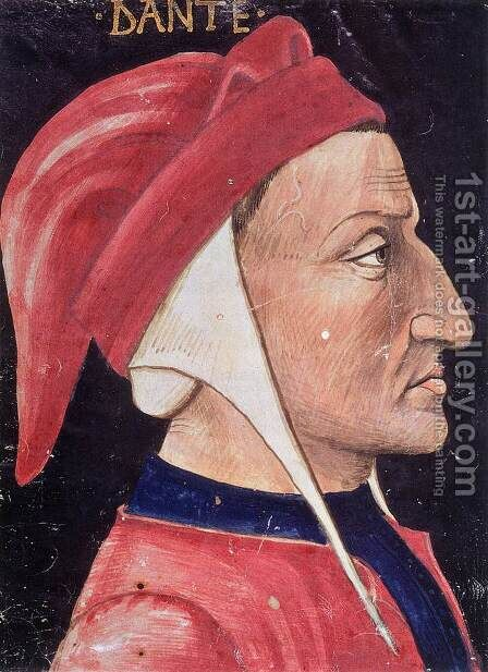 Portrait of Dante Alighieri by Italian Miniaturist - Reproduction Oil Painting