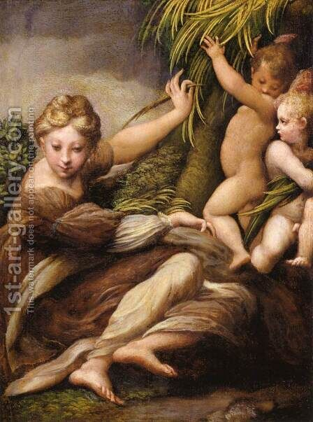 Virgin and Child with an Angel by Girolamo Francesco Maria Mazzola (Parmigianino) - Reproduction Oil Painting