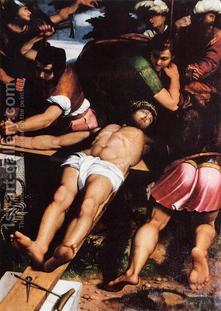 Nailing of Christ to the Cross by Callisto Piazza Da Lodi - Reproduction Oil Painting
