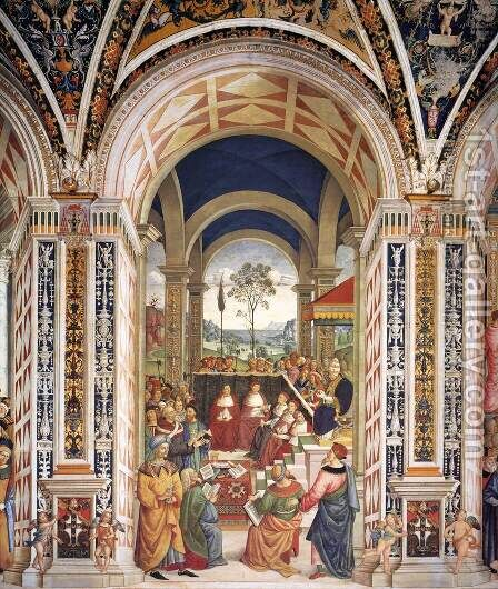 No. 8 Pope Pius II at the Congress of Mantua by Bernardino di Betto (Pinturicchio) - Reproduction Oil Painting