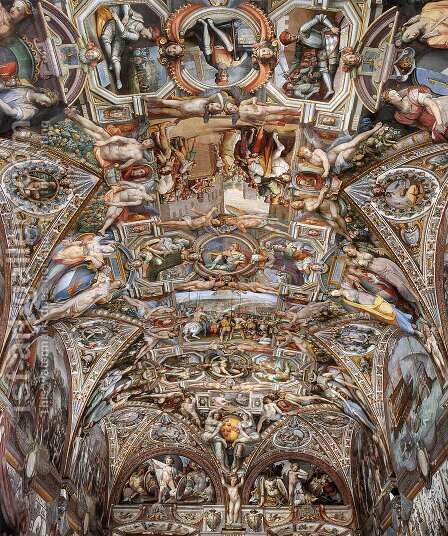 Ceiling decoration by Bernardino Barbatelli Poccetti - Reproduction Oil Painting
