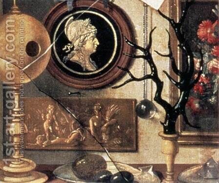 Cabinet of Curiosities (detail) by Domenico Remps - Reproduction Oil Painting