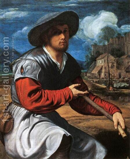 Shepherd with a Flute by Giovanni Girolamo Savoldo - Reproduction Oil Painting