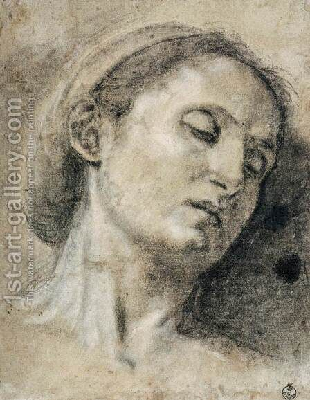 Head of a Woman with Eyes Closed by Giovanni Girolamo Savoldo - Reproduction Oil Painting