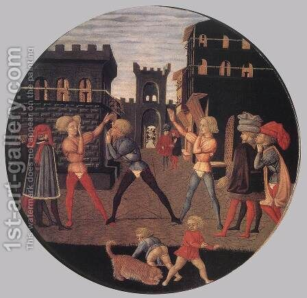 Game of Civettino (a Birth Salver) 2 by Giovanni di ser Giovanni Guidi (see Scheggia) - Reproduction Oil Painting
