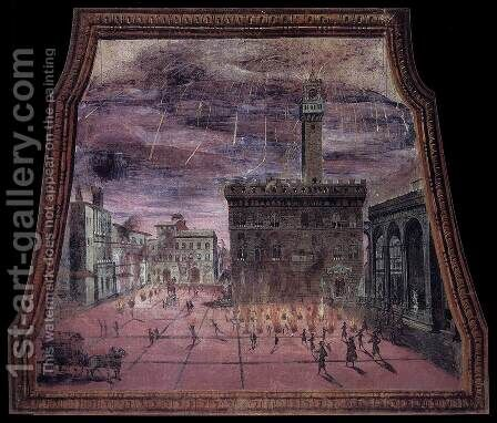 View of the Piazza Signoria with Fireworks on St John's Day by Italian Unknown Masters - Reproduction Oil Painting