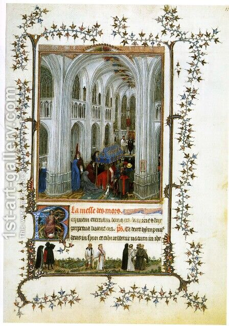 Miniature Turin-Milan Hours Burial Mass by Jan Van Eyck - Reproduction Oil Painting