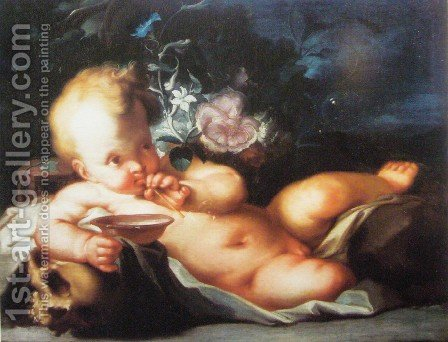 Vanitas con Cupido by Ignazio Stella (see Stern Ignaz) - Reproduction Oil Painting