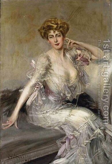 Portrait of Anna Elisabeth Hansen by Giovanni Boldini - Reproduction Oil Painting