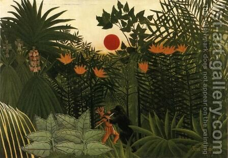 Exotic Landscape, Fight between Gorilla and Indian by Henri Julien Rousseau - Reproduction Oil Painting
