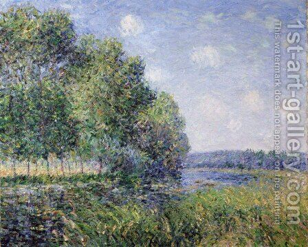 The Seine at Verneuil by Alfred Sisley - Reproduction Oil Painting