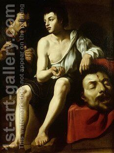 David and Goliath with a double-portrait of Caravaggio by Caravaggio - Reproduction Oil Painting