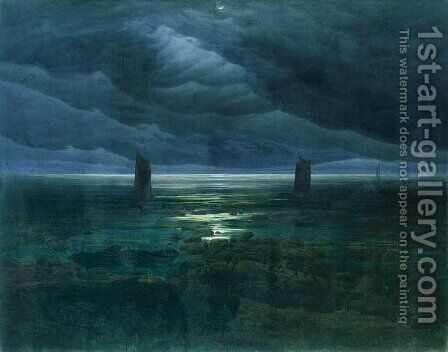 Seashore By Moonlight by Caspar David Friedrich - Reproduction Oil Painting