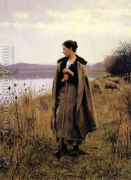 The Shepherdess of Rolleboise by Daniel Ridgway Knight - Reproduction Oil Painting