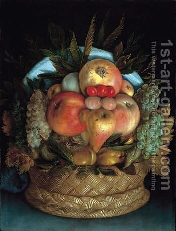 Fruits in a basket by Giuseppe Arcimboldo - Reproduction Oil Painting
