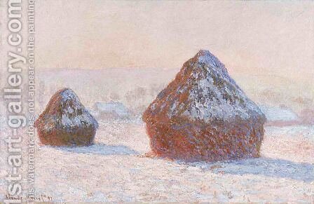 Wheatstacks Snow Effect Morning by Claude Oscar Monet - Reproduction Oil Painting
