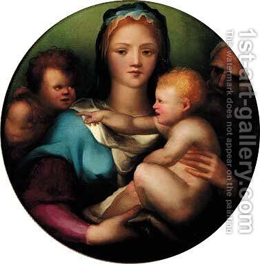 The Holy Family with Saint John the Baptist 2 by Domenico Beccafumi - Reproduction Oil Painting