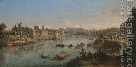 Rome, A View Of The River Tiber At The Porto Di Ripa Grande by Caspar Andriaans Van Wittel - Reproduction Oil Painting