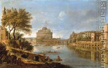Rome A view of the Tiber, with the Castel Sant'Angelo and of San Giovanni dei Fiorentini by Caspar Andriaans Van Wittel - Reproduction Oil Painting