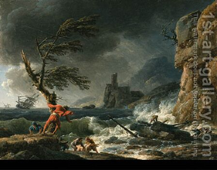 The Storm fishermen pulling ashore a boat by Claude-joseph Vernet - Reproduction Oil Painting