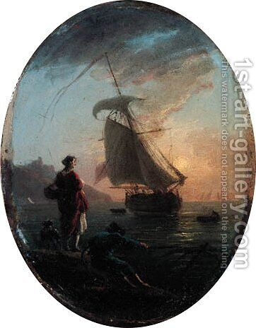 A Mediterranean coast at sunset with a fisherman hauling in his net by a woman with a dog, a galley beyond by Claude-joseph Vernet - Reproduction Oil Painting