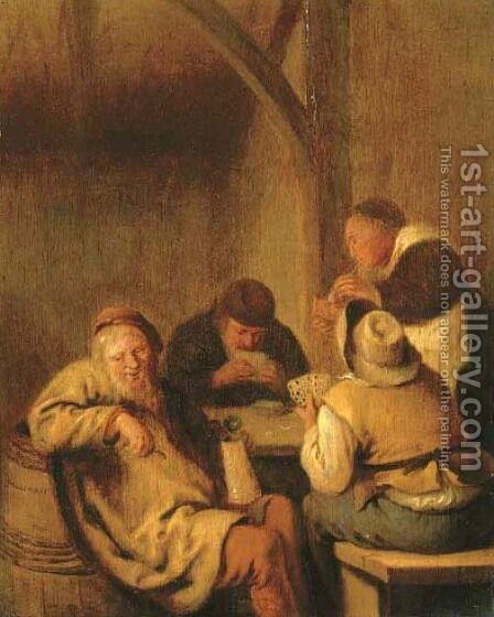 Interiors with peasants playing cards by Jan Miense Molenaer - Reproduction Oil Painting