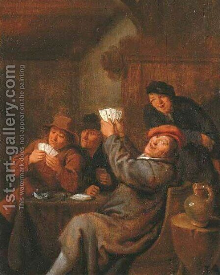 Interiors with peasants playing cards 2 by Jan Miense Molenaer - Reproduction Oil Painting