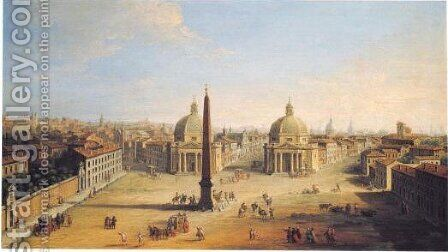 Rome, A View Of The Piazza Del Popolo by Antonio Joli - Reproduction Oil Painting