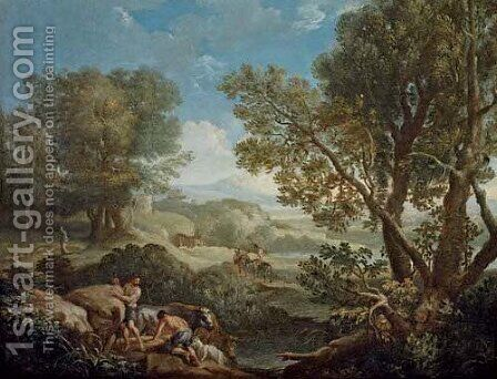 An Italianate wooded landscape with shepherds by Andrea Locatelli - Reproduction Oil Painting