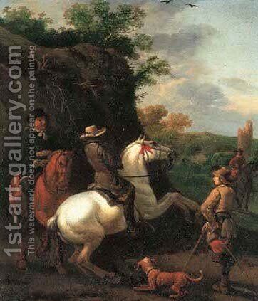 Huntsmen on horseback with a tower beyond by Abraham Van Calraet - Reproduction Oil Painting