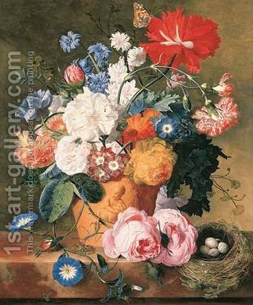 Roses and other flowers in a terracotta vase with a bird's nest on a marble ledge by Jan Van Huysum - Reproduction Oil Painting