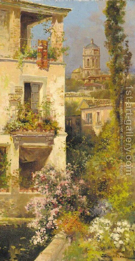 A vista of a Spanish town by Alonso Sanchez Coello - Reproduction Oil Painting