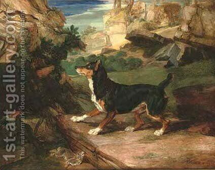 A terrier, stoat and dead rabbit in a rocky landscape by James Ward - Reproduction Oil Painting