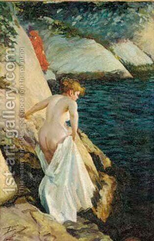 A bather at the rocks by Anders Zorn - Reproduction Oil Painting