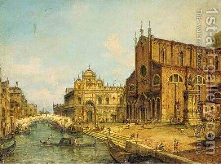 The Rio dei Mendicanti, Venice, with the Scuola di S. Marco and SS. Giovanni e Paolo, Venice by (Giovanni Antonio Canal) Canaletto - Reproduction Oil Painting