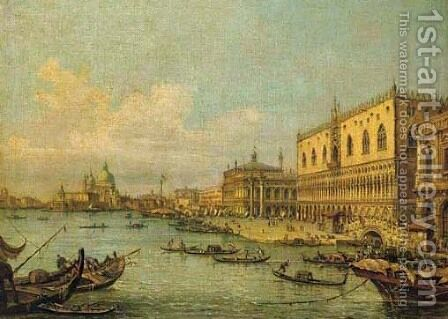 The Molo, Venice, looking West with the Ducal Palace by (Giovanni Antonio Canal) Canaletto - Reproduction Oil Painting