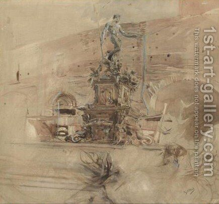 The Fountain Of Neptune In Bologna by Giovanni Boldini - Reproduction Oil Painting