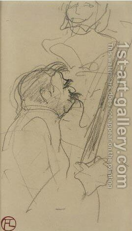 Buste Laure A Double Sided Drawing by Toulouse-Lautrec - Reproduction Oil Painting