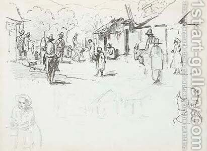 A street scene with Indians, a subsidiary study of the same and studies of a boy and a girl seen from behind by Camille Pissarro - Reproduction Oil Painting