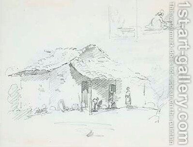 Figures in front of a hut, with studies of two figures cooking by Camille Pissarro - Reproduction Oil Painting