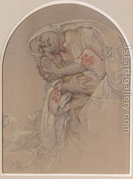 Mother Caressing Her Child by Alphonse Maria Mucha - Reproduction Oil Painting