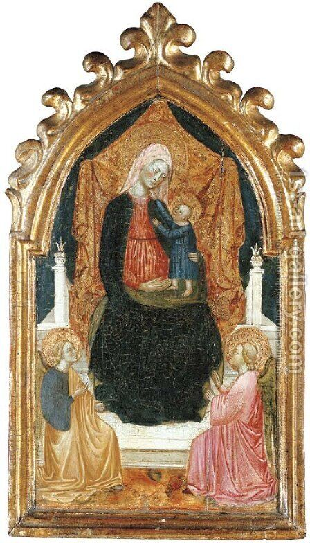 The Madonna and Child with two angels by Alvaro Di Pietro (Pirez D'Évora) - Reproduction Oil Painting