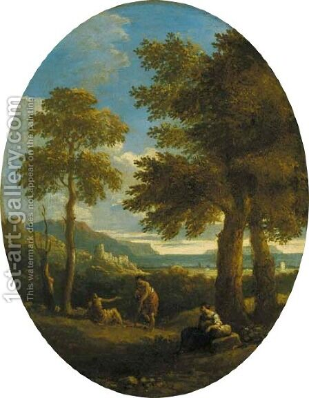 A classical wooded landscape with figures, a town and mountains beyond by Jan Frans van Orizzonte (see Bloemen) - Reproduction Oil Painting