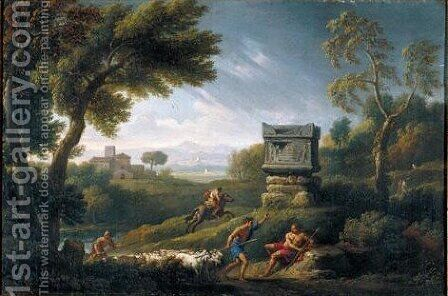 A Classical Landscape With Figures And Sheep Near A Tomb, A Rainstorm Receding by Jan Frans van Orizzonte (see Bloemen) - Reproduction Oil Painting