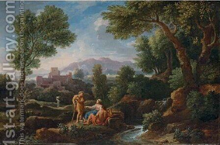 An extensive Italianate landscape with herdsmen conversing by a stream by Jan Frans van Orizzonte (see Bloemen) - Reproduction Oil Painting