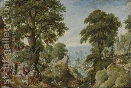A Hilly Wooded Landscape With The Return Of Jacob To Canaan by Hans Bol - Reproduction Oil Painting